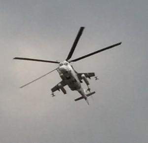 Helicopter gunship over the hospital