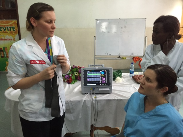 Naomi Alexis teaching the use of CTG with Kirsten as the patient