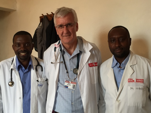Dr Darryl Burstow and the 2 Specialist Physicians at HEAL Africa Hospital
