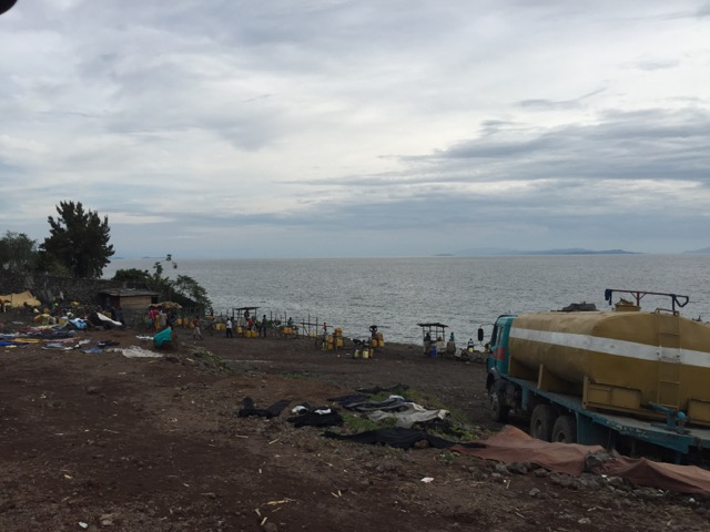 The public beach on the shores of Lake Kivu